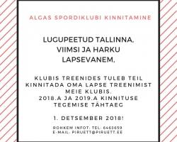 ALGAS SPORDIKLUBI KINNITAMINE