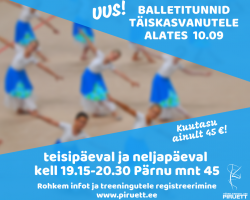 Balletitunnid täiskasvanutele algavad 10. septembrist